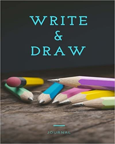 Write and Draw Journal: 8x10 Pencil Notebook, Blue, Drawing Journal or Daily Diary, for Adults, Teens or Kids, Blank Pages, Softcover